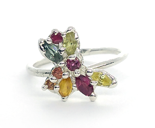 Eris Silver Ring with Sapphires & Rubies (Size M½)