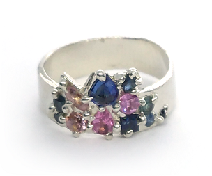 Layi Silver Ring with Sapphires (Size O½)