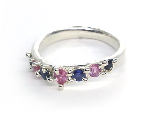 Erato Silver Ring with Pink & Blue Sapphires (Size O½)